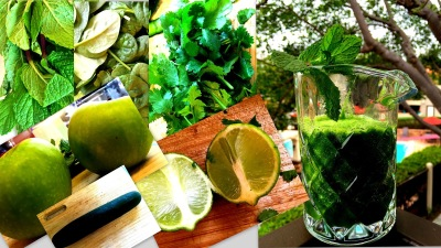 cilantro, cooking, cucumber, green apples, green smoothie, home cooking, homemade, juice, lemon, mint, recipes, smoothie, Spinach,